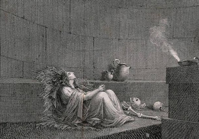 Cornelia, la Vergine Vestale, era sepolta viva circondata da ossa nella prigione sotterranea. Incisione linea di G. Machetti secondo B. Pinelli.