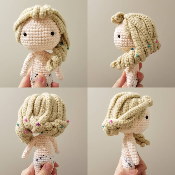 Amigurumi Doll Hair Free Tutorial Crochet Pattern Long Side Braid