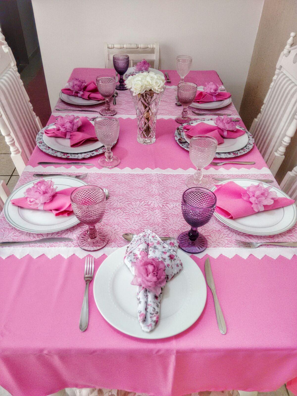 Blog da Letis Mesa Posta  Rosa  Floral
