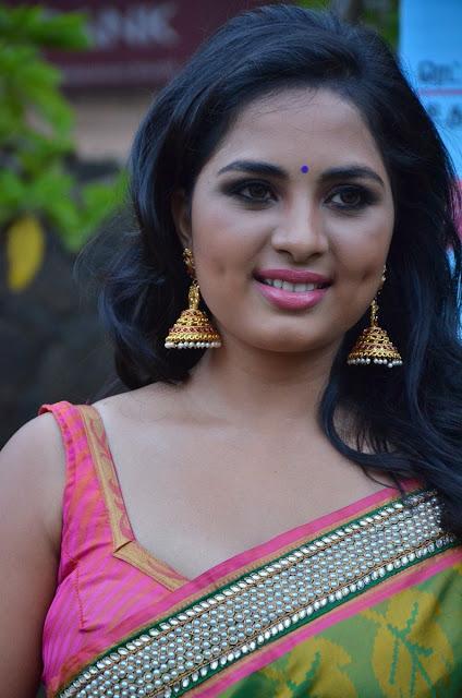 Tamil Actress Srushti Dange Stills in Yellow Silk Saree with Sleeveless Blouse Actress Trend