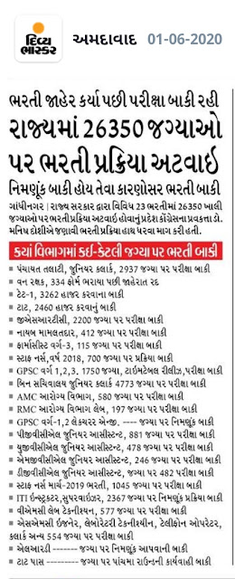 the examination process is still pending. Recruitment process is stuck in 26350 posts in the state