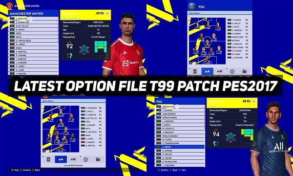 PES2017 LATEST OPTION FILE T99 PATCH 2021-2022