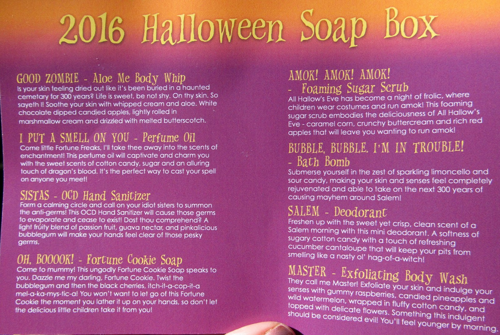 ive put the prices next to each item although the scents in the halloween box were limited edition and exclusive to the box but other scents are