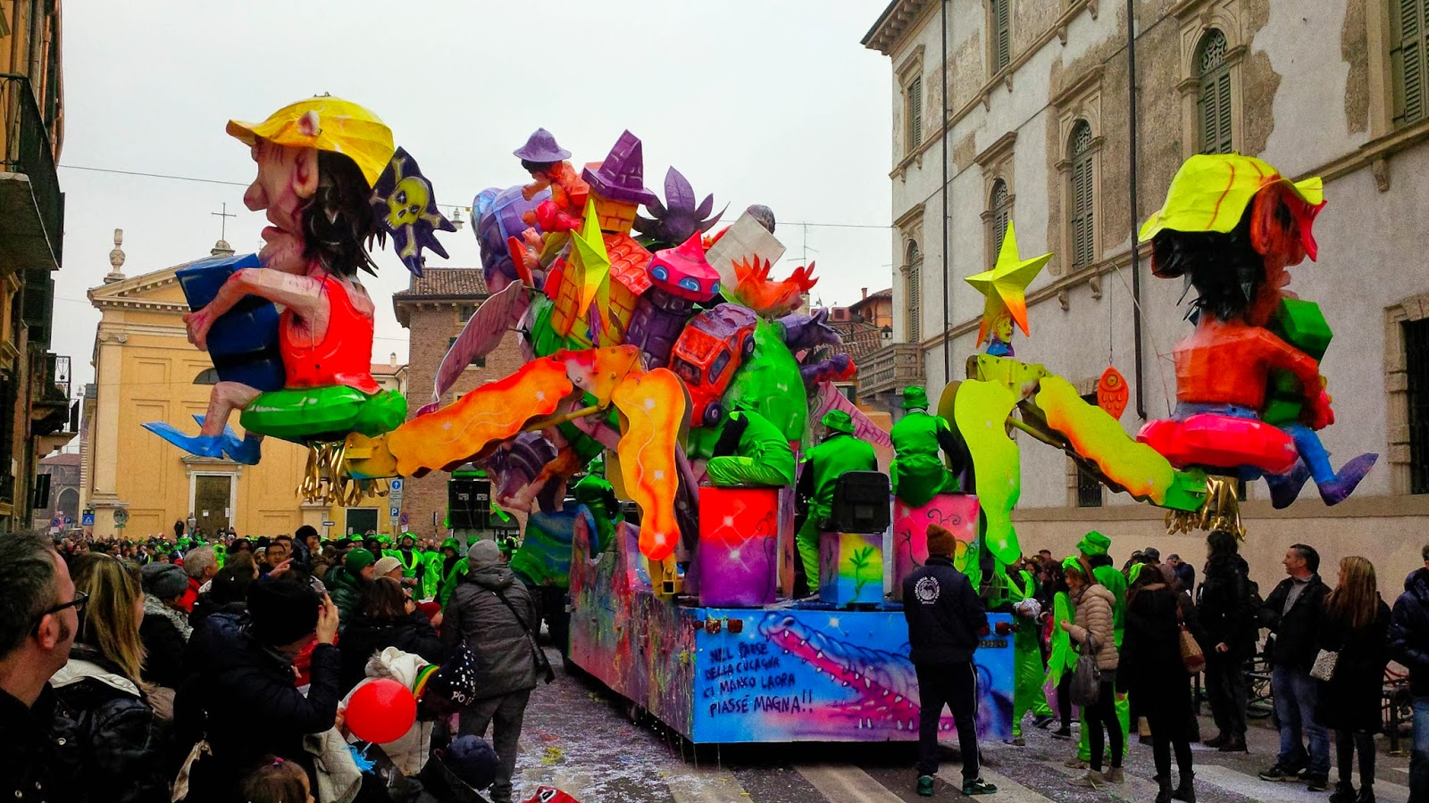 A float passing by during the parade for Verona Carnival