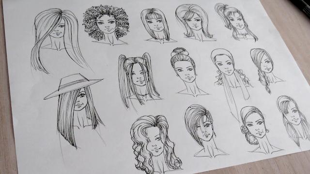 Dibujo de distintos peinados para figurines de moda entintados