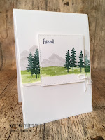 This image shows a colourful handmade mountain scenery card created with the Waterfront stamp set by Stampin' Up!