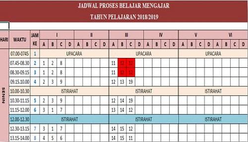 Aplikasi Jadwal Pelajaran Kurikulum 2013 SD/MI Semua Kelas Tahun 2018/2019