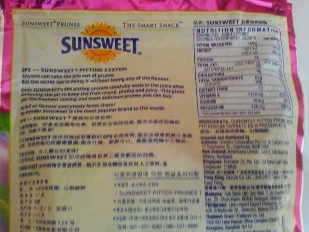 Dried Prunes Nutrition Facts