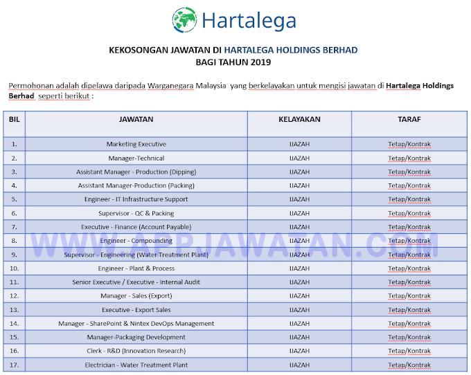 Jawatan Kosong Terkini di Hartalega Holdings Berhad.