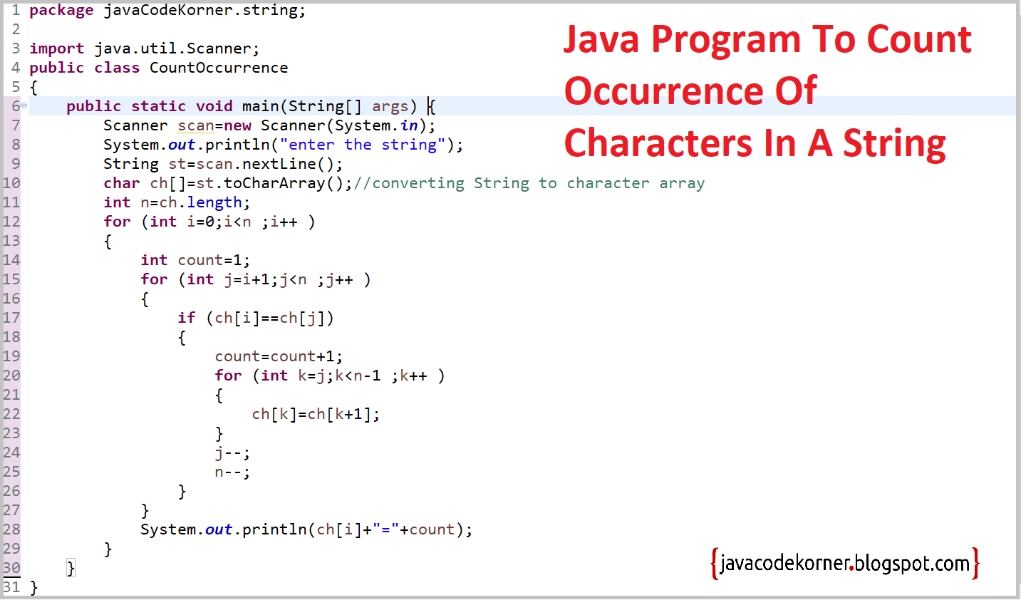 Java Program To Count Occurrences Of Character In String