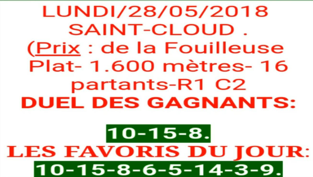 Pronostic Cheval Sûr Quinté 28/05/2018-tierce chevaux - tierce Top