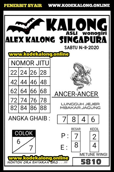 Syair Kalong SGP Sabtu 14 November 2020