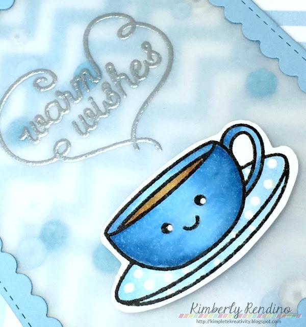 spring coffee card | kimpletekreativity.blogspot.com | coffee lovers bloghop | coffee | shaker card | sequins
