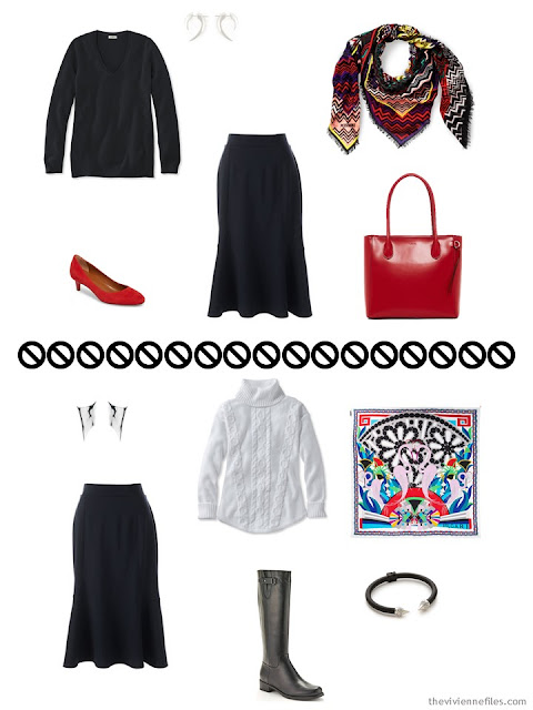 two ways to wear a black skirt from a Tote Bag Travel Wardrobe in black, white and red