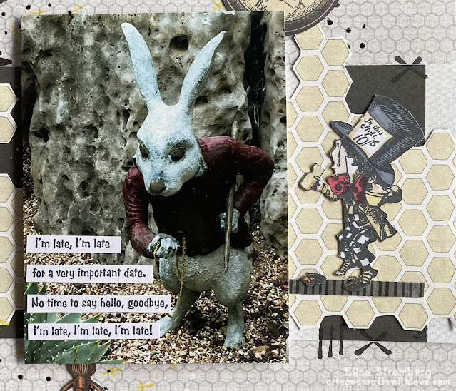 Alice in wonderland scrapbooking layout closeup
