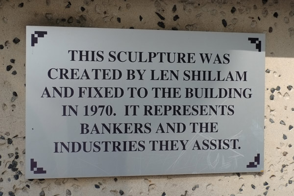 Plaque for 1970 Len Shillam sculpture, Post Office square Brisbane. Photo by Kent Johnson.