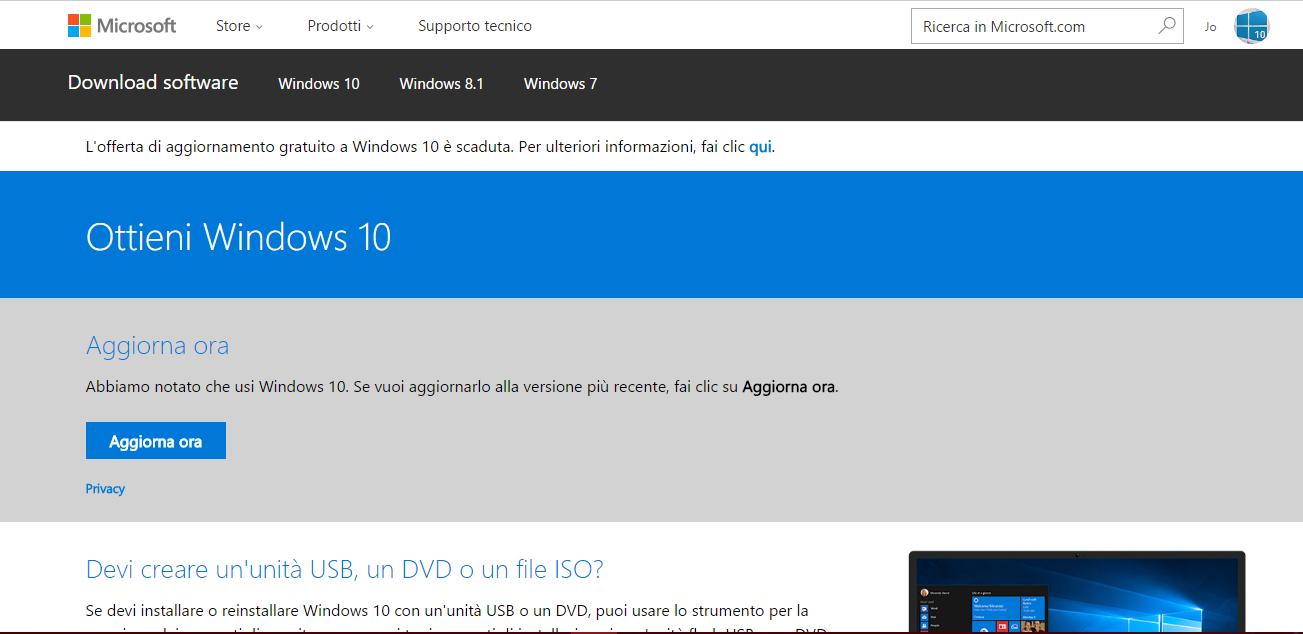 """Microsoft modifica la pagina Download software, con MCT e tasto """"Aggiorna ora"""" pronti per l'Anniversary Update HTNovo"""