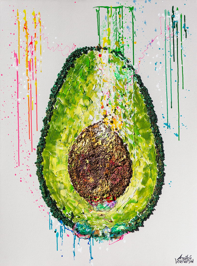 Avocado 3d,Avocado painting,Avocado textured , office painting, avocado voznarski,  avocado  pop art, avocado wall art, avocado dot, abstract avocado