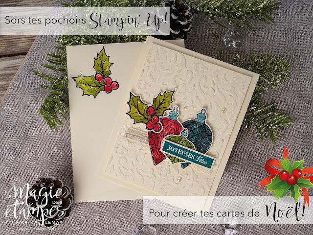 Carte de Noël Stampin' Up! créée avec le jeu d'étampes Fêtes étincelantes et la pâte à texture
