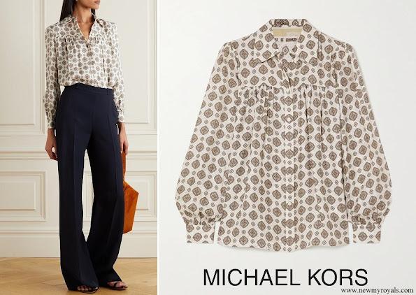 The Duchess of Cambridge wore Michael Kors Medallion silk-blend jacquard blouse