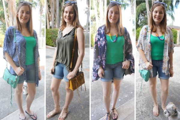 Green tanks and bermuda denim shorts, 4 different ways to wear | awayfromtheblue