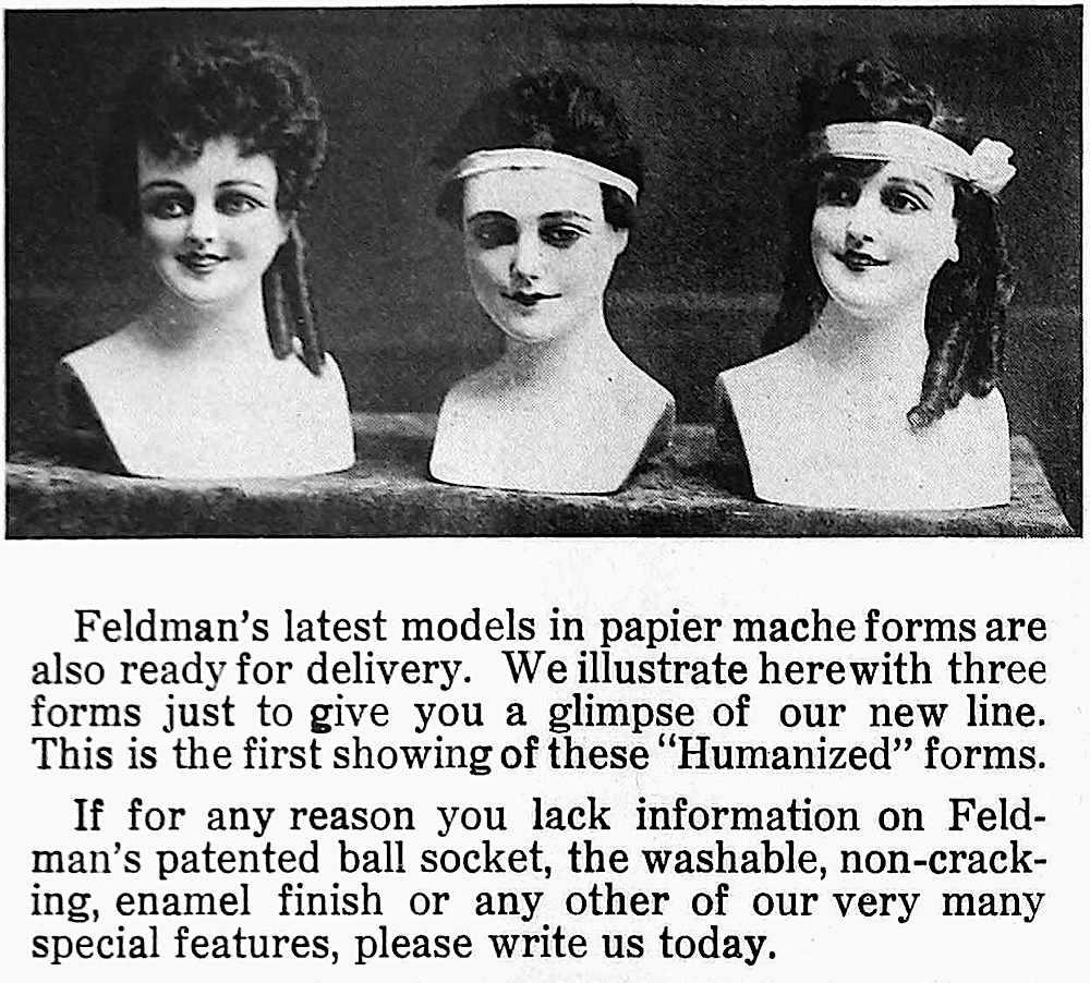 Feldman's humanized figures photograph 1917 advertisement