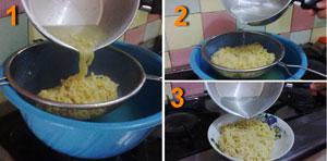 masak mie instan yang benar, indomie instan, menyaring air rebusan