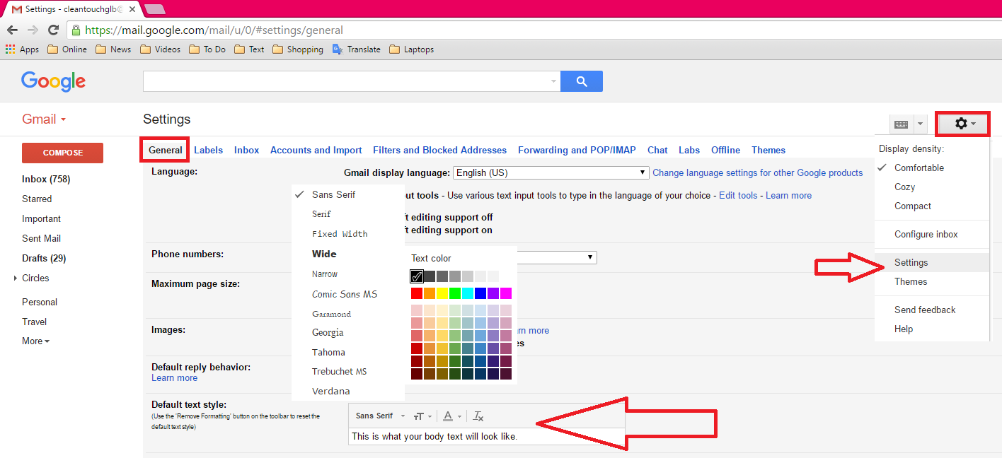 Gmail theme image size - How To Change Gmail Font Size Font Style Color Change Font Size Font