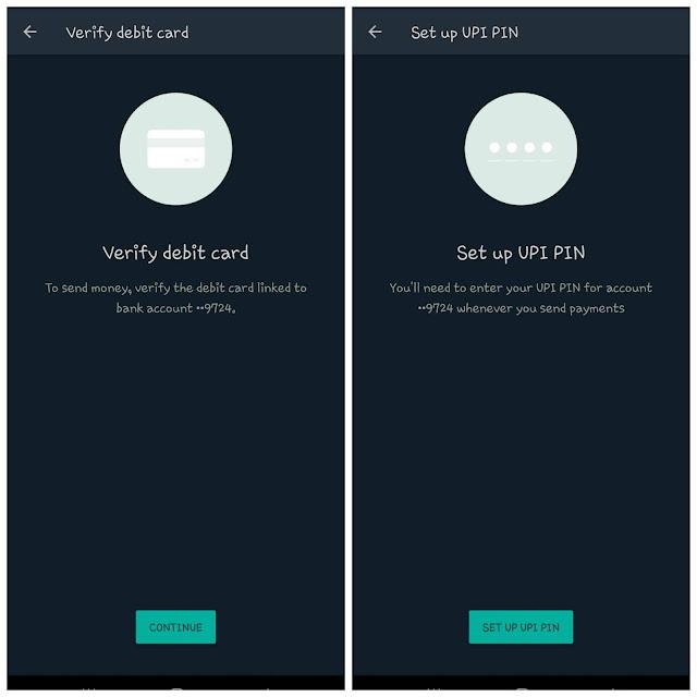 Verify debit card and setup UPI PIN