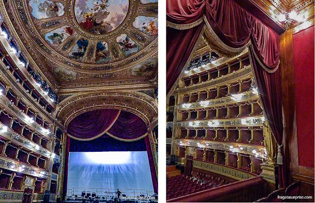 Detalhe da decoração do forro do Teatro Massimo e o camarote real