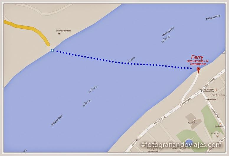 Ferry para cruzar el Mekong en Luang Prabang