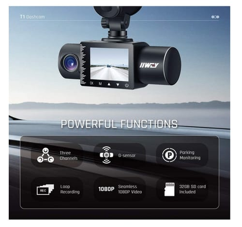 IIWEY T1 Car Camera Dash Cam with Super Night Vision