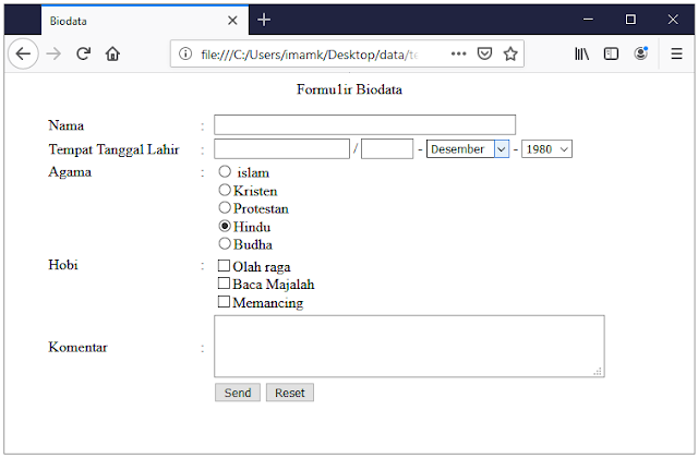 Gambar 12. Contoh pengisian biodata