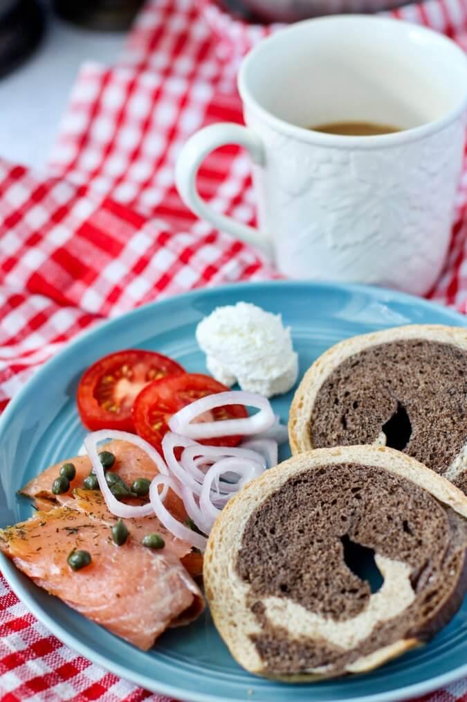 Marbled Rye Bagels breakfast