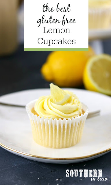 The Best Gluten Free Lemon Cupcakes Recipe - light, fluffy, easy, quick, dessert, lemon buttercream frosting