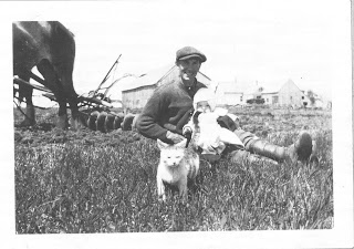 Man seated in field with baby, cat, horse