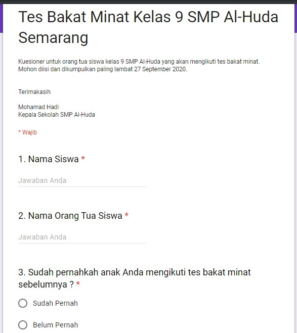 contoh membuat google formulir