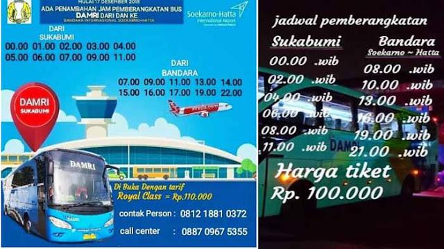 Jadwal Damri Bandara Sukabumi 2019 - 2020