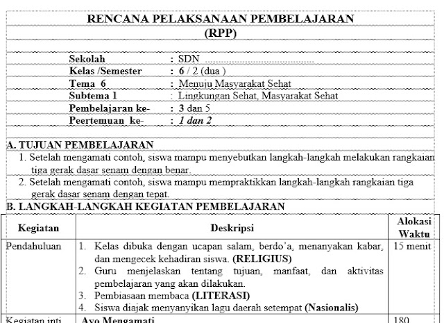Download Rpp 1 Lembar Pai Kelas 6 Sd K13 Semester 1 Tapel Cute766