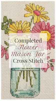 Finished Cross Stitch - Flower Mason jar