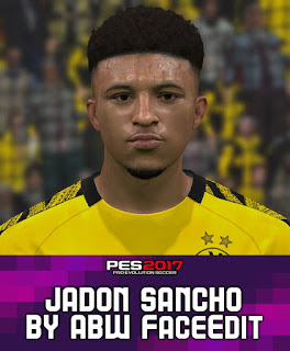 PES 2017 Faces Jadon Sancho by ABW_FaceEdit