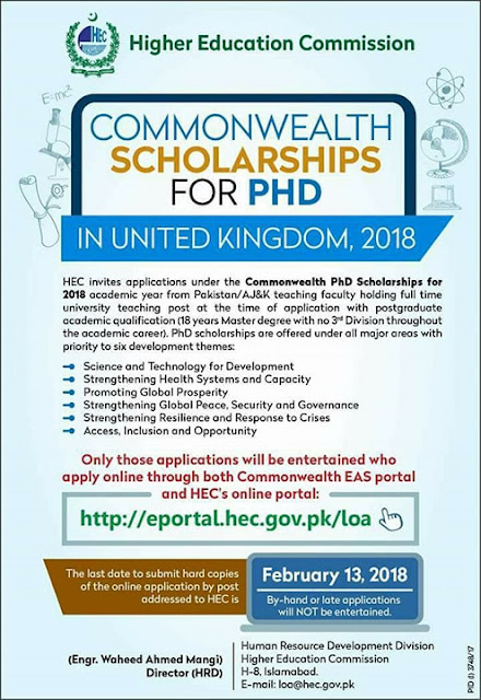 HEC Common Wealth Scholarship of PhD 2018 in United Kingdom HEC Common Wealth Scholarship of PhD, Description of Scholarship HEC, Eligibility criteria of  Scholarship, Advantage of Scholarship, Application Deadline,