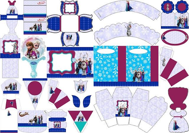 kit completo para Fiesta de Frozen para imprimir gratis