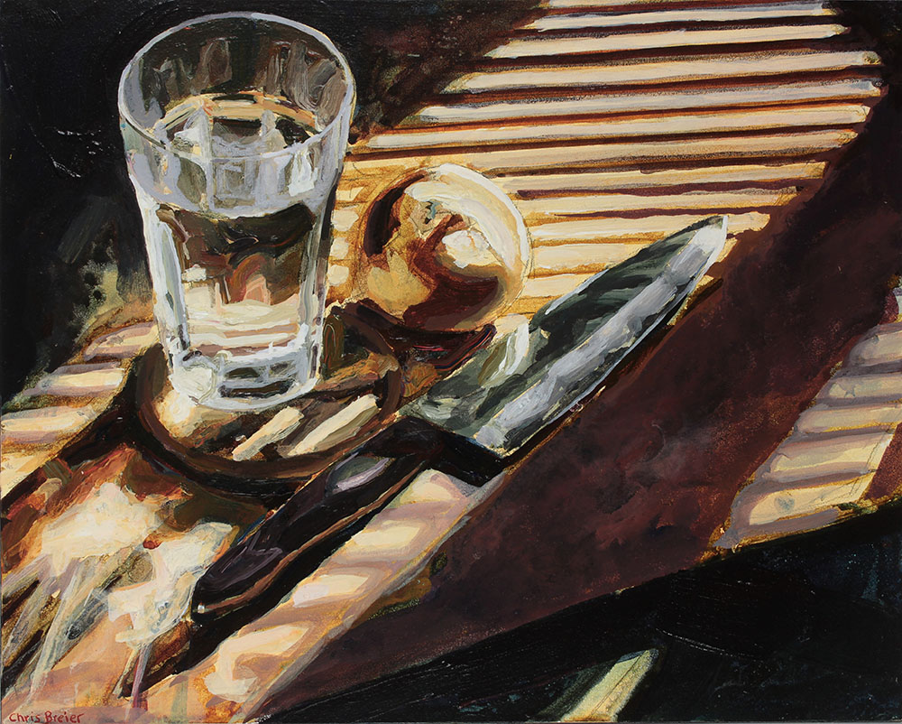A still life painting of a glass of water, onion, and a knife on a table painted in acrylic