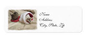 """""""Christmas Mice"""" address label artistically edited photo, painterly watercolor effect"""