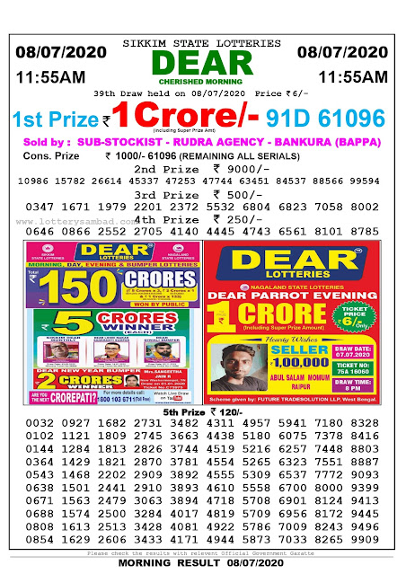 Sikkim State Lottery Sambad 08-07-2020 Today Result 11.55 AM