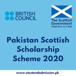 Pakistan Scottish Scholarship Scheme 2020