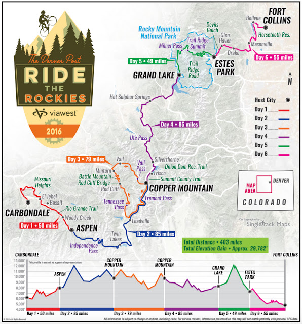 route map 2016 Ride the Rockies in Colorado