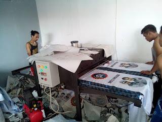 Proses pembuatan bendera spsi Riau