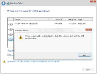 Windows bu diske yüklenemez seçilen diskte MBR bölüm tablosu var